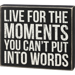 I Live For Moments You Can't Put Into Words Decorative Wooden Box Sign 9.25 Inch x 8 Inch from Primitives by Kathy