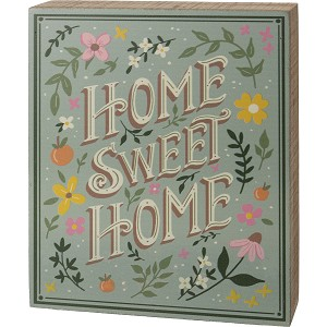 Floral Design Home Sweet Home Decorative Wooden Box Sign 6.5 Inch x 8 Inch from Primitives by Kathy