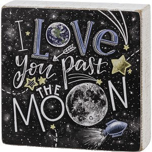 Chalk Art Design Love You Past The Moon Decorative Wooden Box Sign 5x5 from Primitives by Kathy