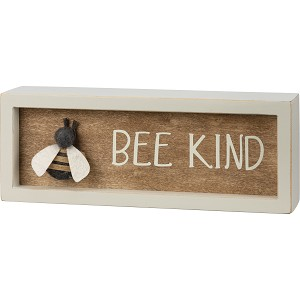 Felt Bumblebee Accent Bee Kind Decorative Inset Wooden Box Sign 8x3 from Primitives by Kathy