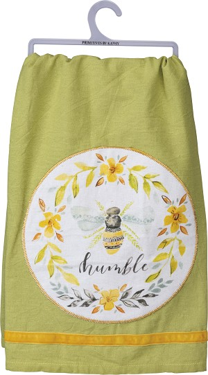 Bumblebee Be Humble Cotton Dish Towel 28x28 from Primitives by Kathy