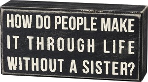 How Do People Make It Through Life Without A Sister Wooden Box Sign 6x3 from Primitives by Kathy