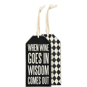 Set of 6 When Wine Goes In Wisdom Comes Out Wooden Wine Bottle Tags from Primitives by Kathy
