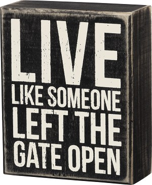 Live Like Someone Left The Gate Open Decorative Wooden Box Sign 4x5 from Primitives by Kathy
