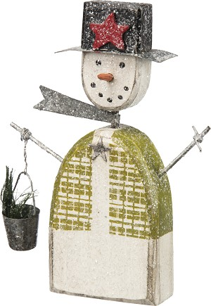 Snowman With Scarf & Bucket Wooden Figurine 6 Inch from Primitives by Kathy