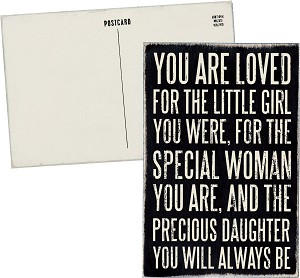 You Are Loved for The Special Woman You Are Wooden Postcard 4x6  from Primitives by Kathy