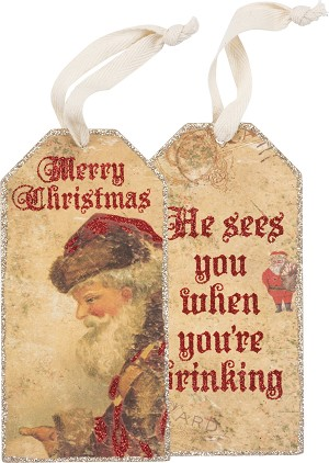 Set of 6 He Sees You're Drinking Wooden Wine Bottle Tags from Primitives by Kathy