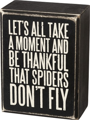 Be Thankful Spiders Don't Fly Decorative Wooden Box Sign from Primitives by Kathy