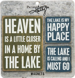 Set of 3 Lake House Themed Refrigerator Magnets from Primitives by Kathy
