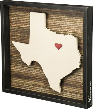 State of Texas Decorative Inset Wooden Box Sign 16.5x15.5 from Primitives by Kathy