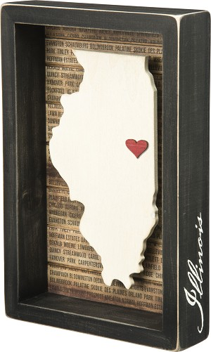 State of Illinois Decorative Home Décor Inset Wooden Box Sign 6.75x10.25 from Primitives by Kathy