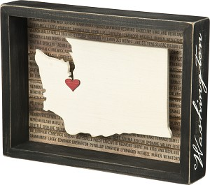 Washington State Decorative Inset Wooden Box Sign from Primitives by Kathy