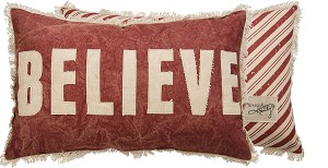 Double Sided Believe Decorative Canvas Throw Pillow 22x14 from Primitives by Kathy