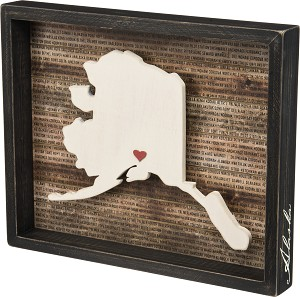State of Alaska Decorative Inset Wooden Box Sign 15x12.25 from Primitives by Kathy