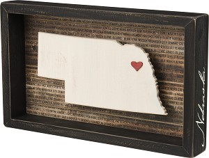 Nebraska State Decorative Inset Wooden Box Sign from Primitives by Kathy