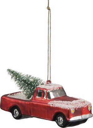 Tree Truck Hanging Glass Christmas Ornament 4.25 Inch from Primitives by Kathy