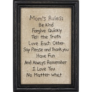 Mom's Rules Framed Stitched Wall Décor Sign from Primitives by Kathy