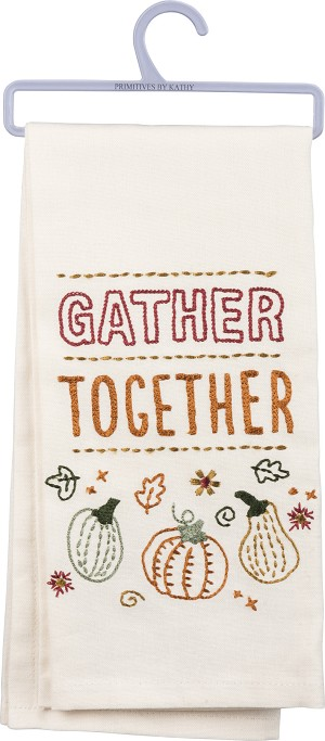 Gather Together Cotton Dish Towel 18x26 from Primitives by Kathy