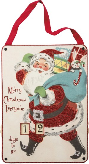 Large Countdown To Christmas Santa Sign 11x14.75 from Primitives by Kathy