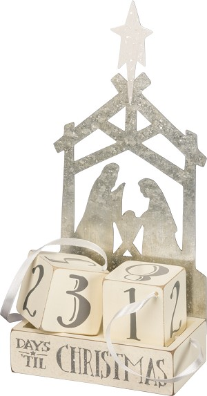Nativity Scene Days 'Til Christmas Decorative Wooden Block Countdown Sign from Primitives by Kathy
