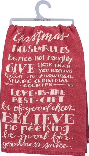 Christmas House Rules Cotton Dish Towel 28x28 from Primitives by Kathy