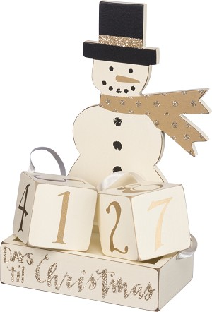 Snowman & Tophat Days 'Til Christmas Decorative Wooden Block Countdown Sign from Primitives by Kathy