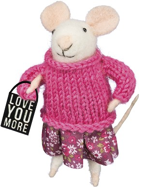 Felt Mouse Figurine Wearing Knit Sweater (Love You More) 4 Inch from Primitives by Kathy