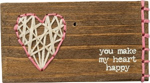 You Make My Heart Happy Stitched Wooden Block Sign from Primitives by Kathy