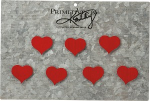 Set of 7 Red Hearts Refrigerator Magnets from Primitives by Kathy