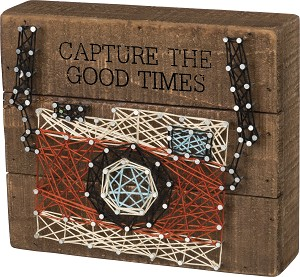 Capture The Good Times Decorative String Art Wooden Box Sign 7x6 from Primitives by Kathy