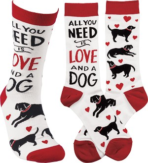 All you Need Is Love And A Dog Colorfully Printed Cotton Socks from Primitives by Kathy