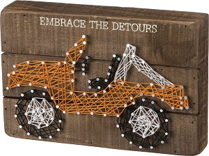 Embrace The Detours Decorative String Art Wooden Box Sign 9x6 from Primitives by Kathy