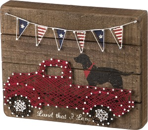 Patriotic Land That I Love Slat Wooden String Art Box Sign 10x6 from Primitives by Kathy