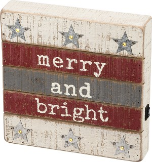 Merry & Bright LED Decorative Lighted Wooden Box Sign 8.5x8.5 from Primitives by Kathy
