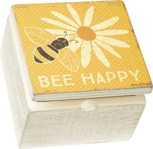 Bumblebee & Flower Bee Happy Hinged Wooden Keepsake Box 4x4 from Primitives by Kathy