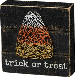 Trick Or Treat Halloween String Art Decorative Box Sign 6x6 from Primitives by Kathy