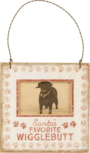 Dog Lover Santa's Favorite Wigglebutt Mini Photo Picture Frame (Holds 3x2 Photo) from Primitives by Kathy
