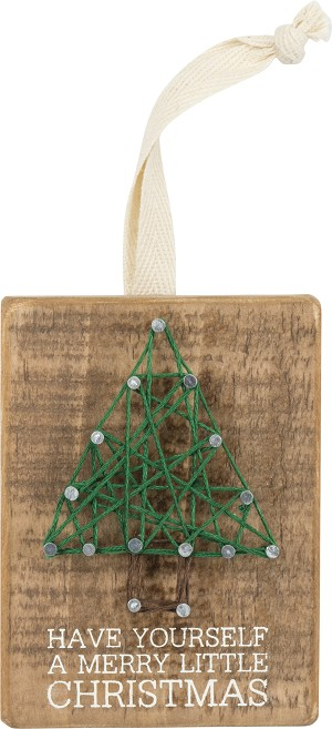 Have Yourself A Merry Little Christmas Decorative String Art Ornament 3x4 from Primitives by Kathy