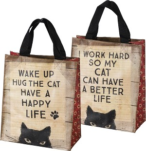 Cat Lover I Work Hard So My Cat Can Have A Better Life Double Sided Daily Tote Bag from Primitives by Kathy