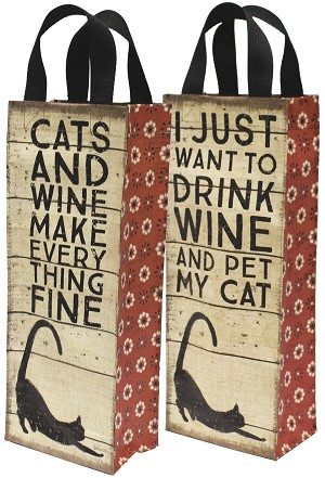 Cats and Wine Make Everything Fine Wine Carrier Tote Bag from Primitives by Kathy