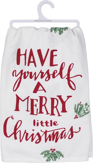 Have Yourself A Merry Little Christmas Cotton Dish Towel 28x28 from Primitives by Kathy