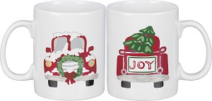 Christmas Tree Truck Joy Double Sided Stoneware Coffee Mug 20 Oz from Primitives by Kathy