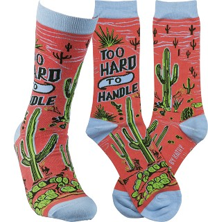 Too Hard To Handle Colorfully Printed Cotton Socks from Primitives by Kathy