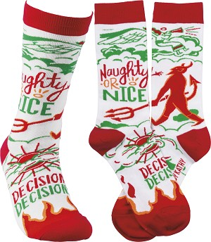 Naughty Or Nice Desicions Desicions Colorfully Printed Cotton Socks from Primitives by Kathy