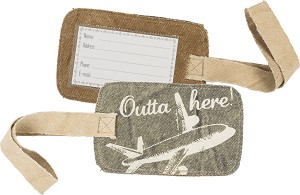 Outta Here Canvas Luggage Tag from Primitives by Kathy