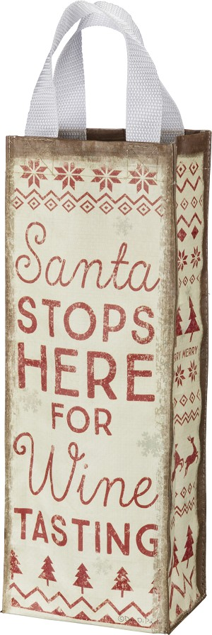 Santa Stops Here For Tasting Double Sided Wine Tote Carrier Bag from Primitives by Kathy