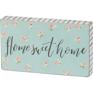 Floral Themed Home Sweet Home Decorative Wooden Block Sign from Primitives by Kathy