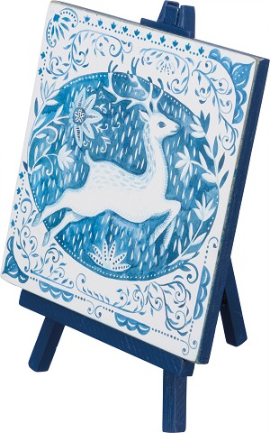 Blue & White Mini Deer Wooden Easel Sign from Primitives by Kathy