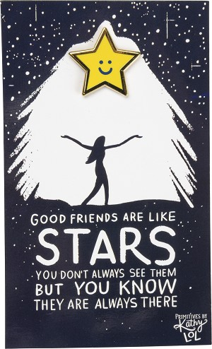 Good Friends Are Life Stars Enamel Pin With Greeting Card from Primitives by Kathy