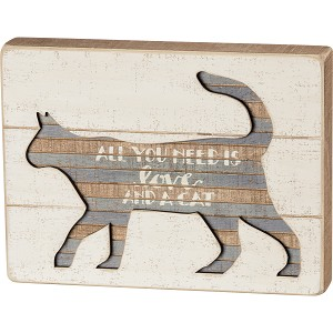 All You Need Is Love And A Cat Slat Wood Box Sign from Primitives by Kathy